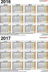 Template 4: Excel template for two year calendar 2016/2017 (portrait orientation, 1 page, A4)