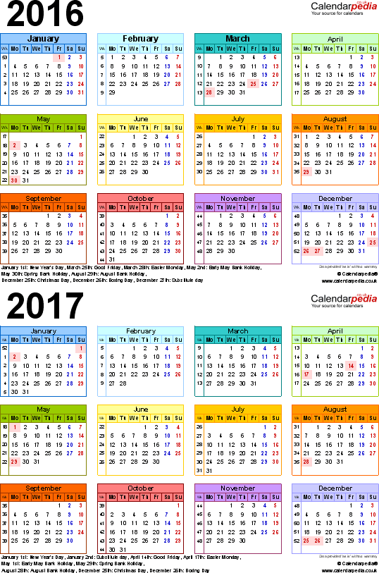 Template 3: Excel template for two year calendar 2016/2017 in colour (portrait orientation, 1 page, A4)