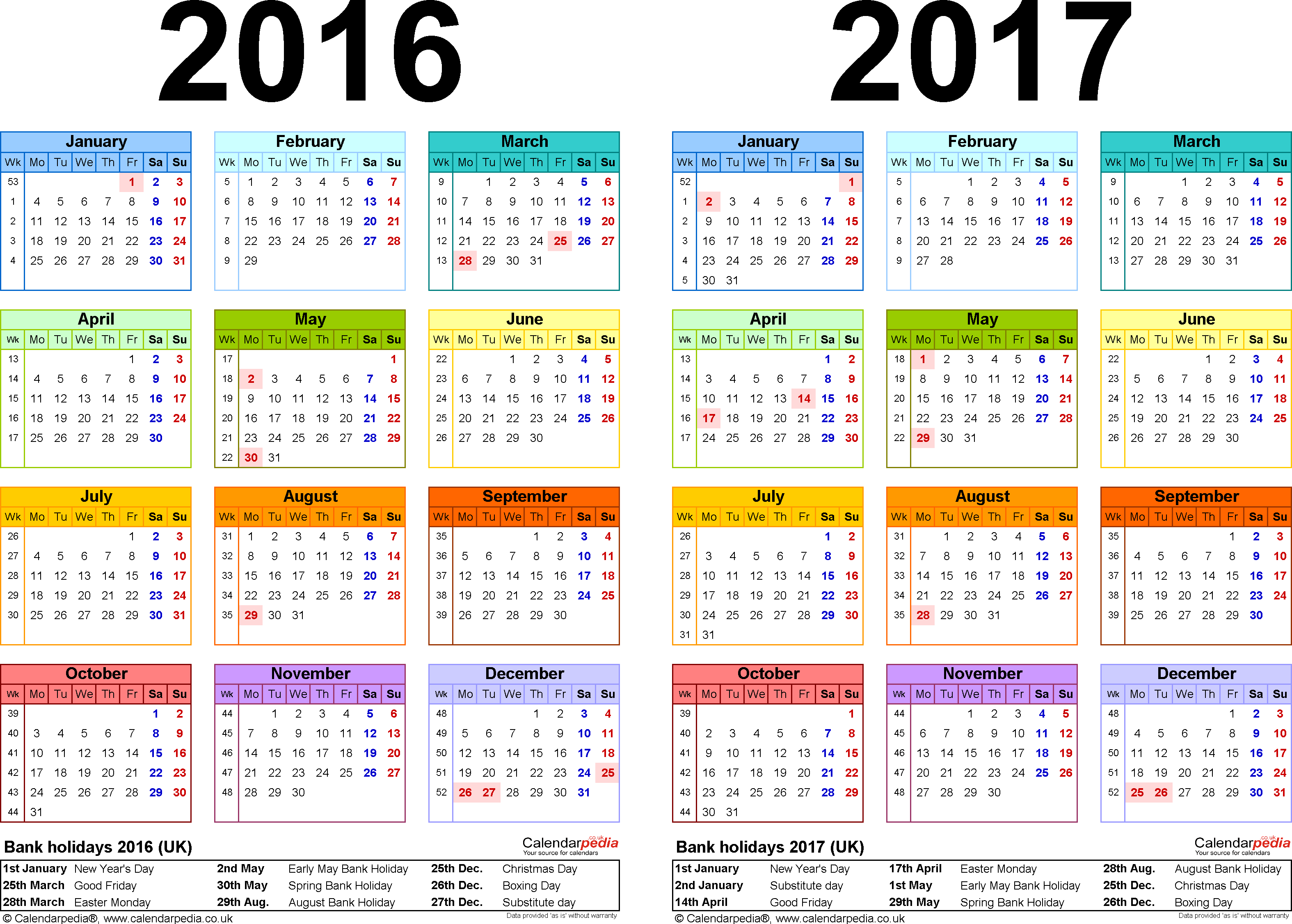 Template 1: Excel template for two year calendar 2016/2017 in colour (landscape orientation, 1 page, A4)
