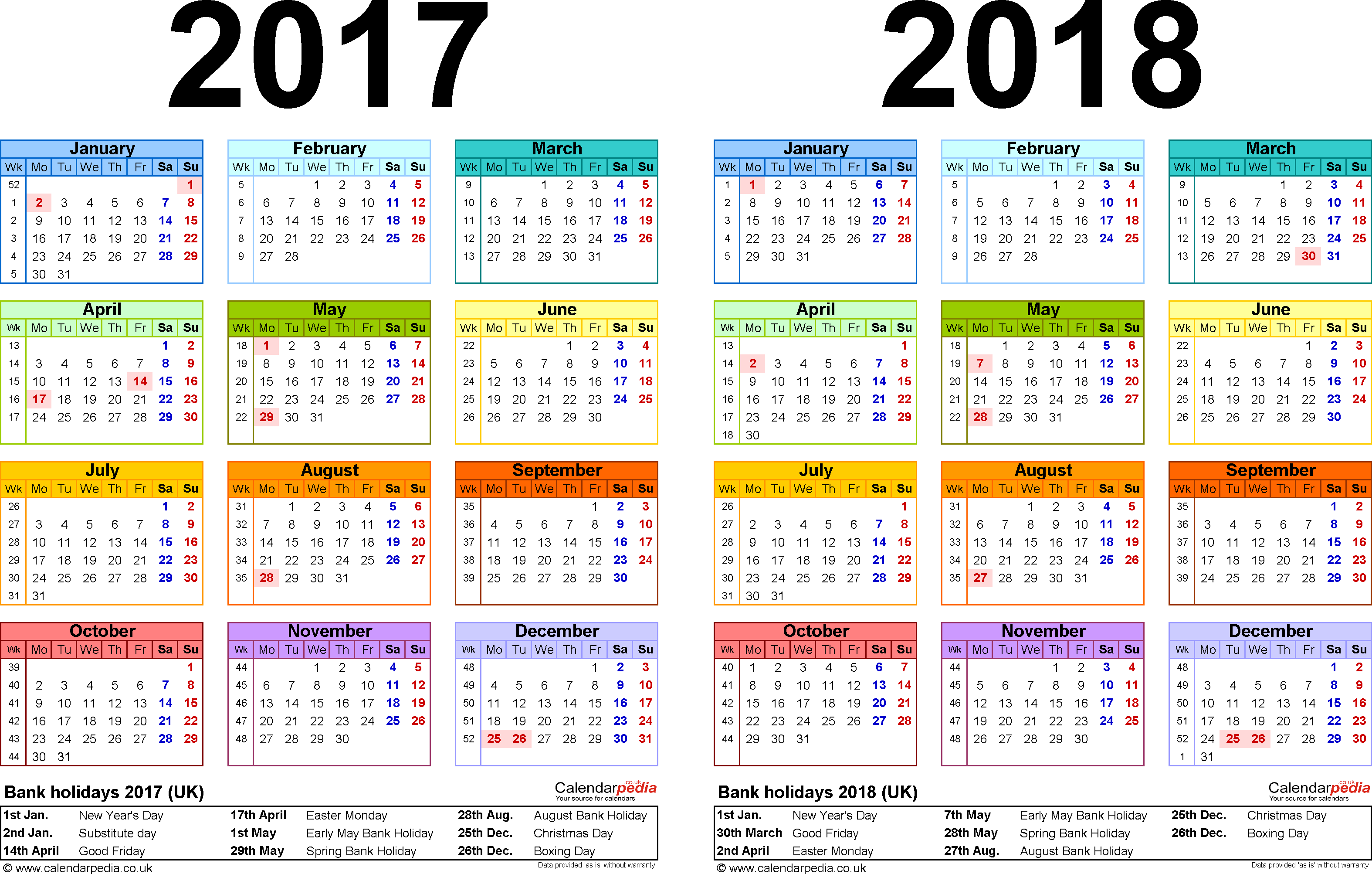 Template 1: Excel template for two year calendar 2017/2018 in colour (landscape orientation, 1 page, A4)