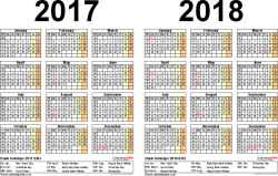 Template 2: Word template for two year calendar 2017/2018 (landscape orientation, 1 page, A4)