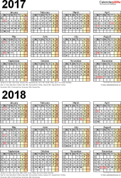 Template 4: Excel template for two year calendar 2017/2018 (portrait orientation, 1 page, A4)