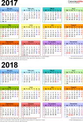 Template 3: Excel template for two year calendar 2017/2018 in colour (portrait orientation, 1 page, A4)