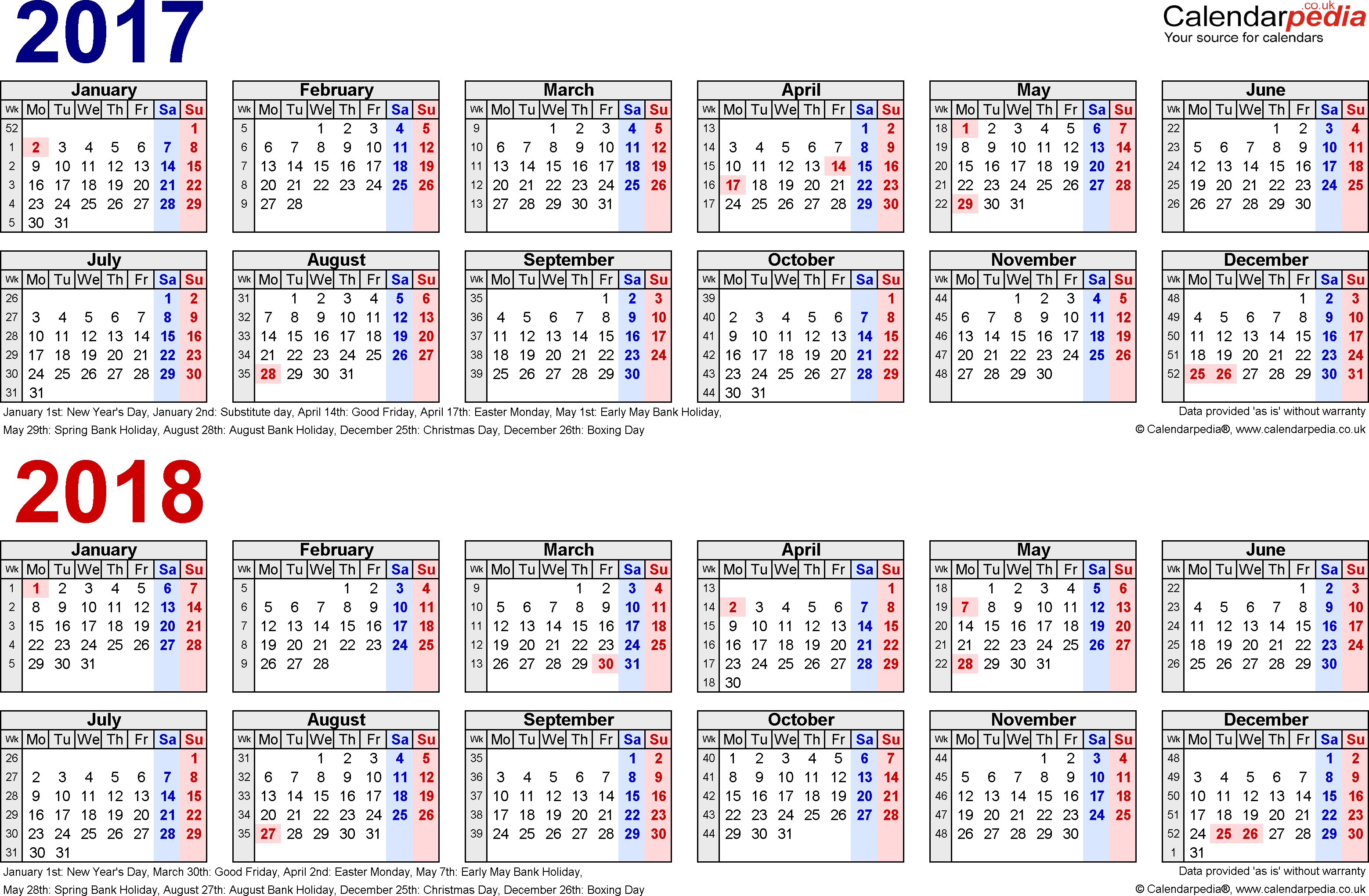 Template 1: Excel template for two year calendar 2017/2018 in blue/red (landscape orientation, 1 page, A4)