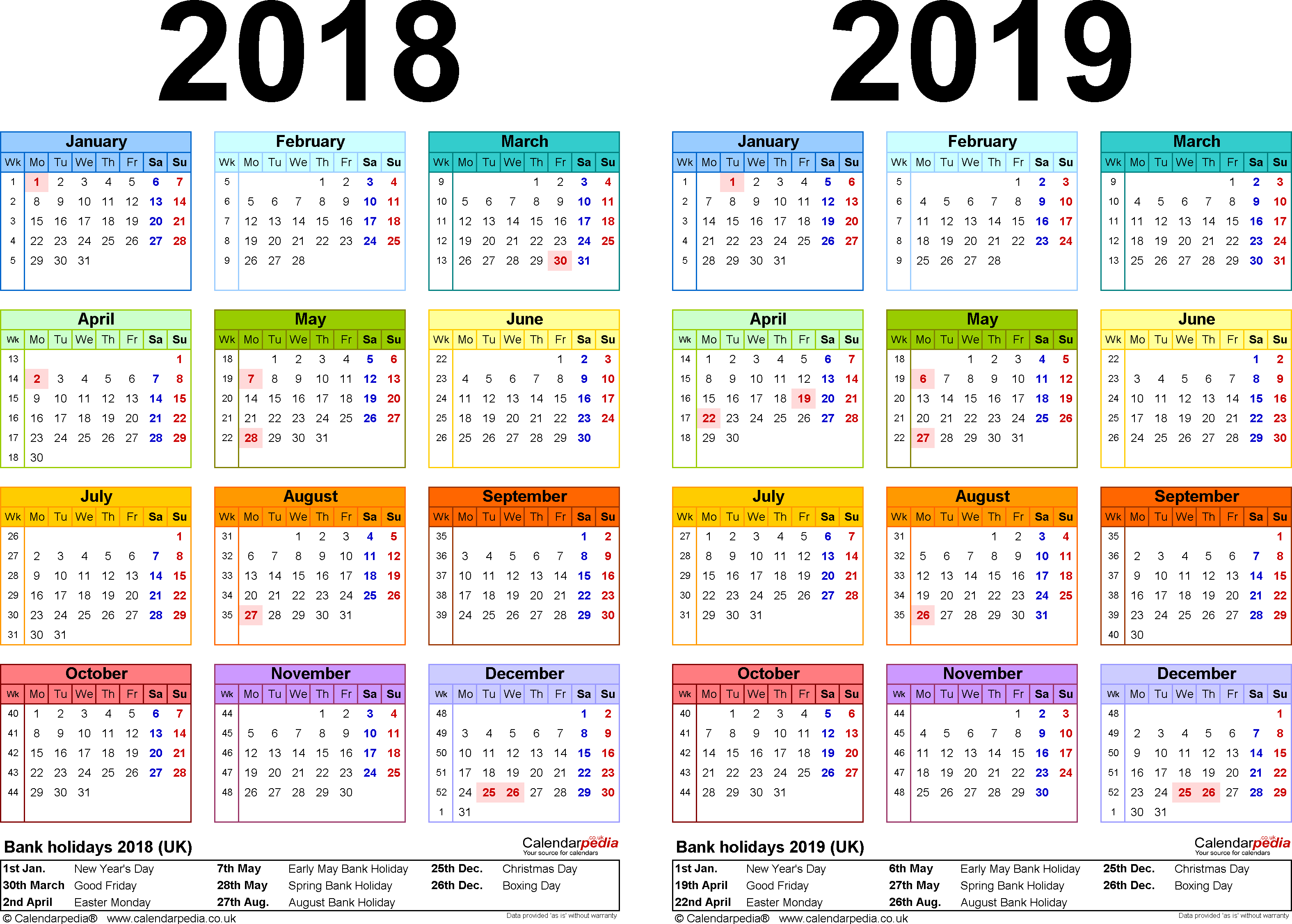 Download Template 2: Excel template for two year calendar 2018/2019 in colour (landscape orientation, 1 page, A4)
