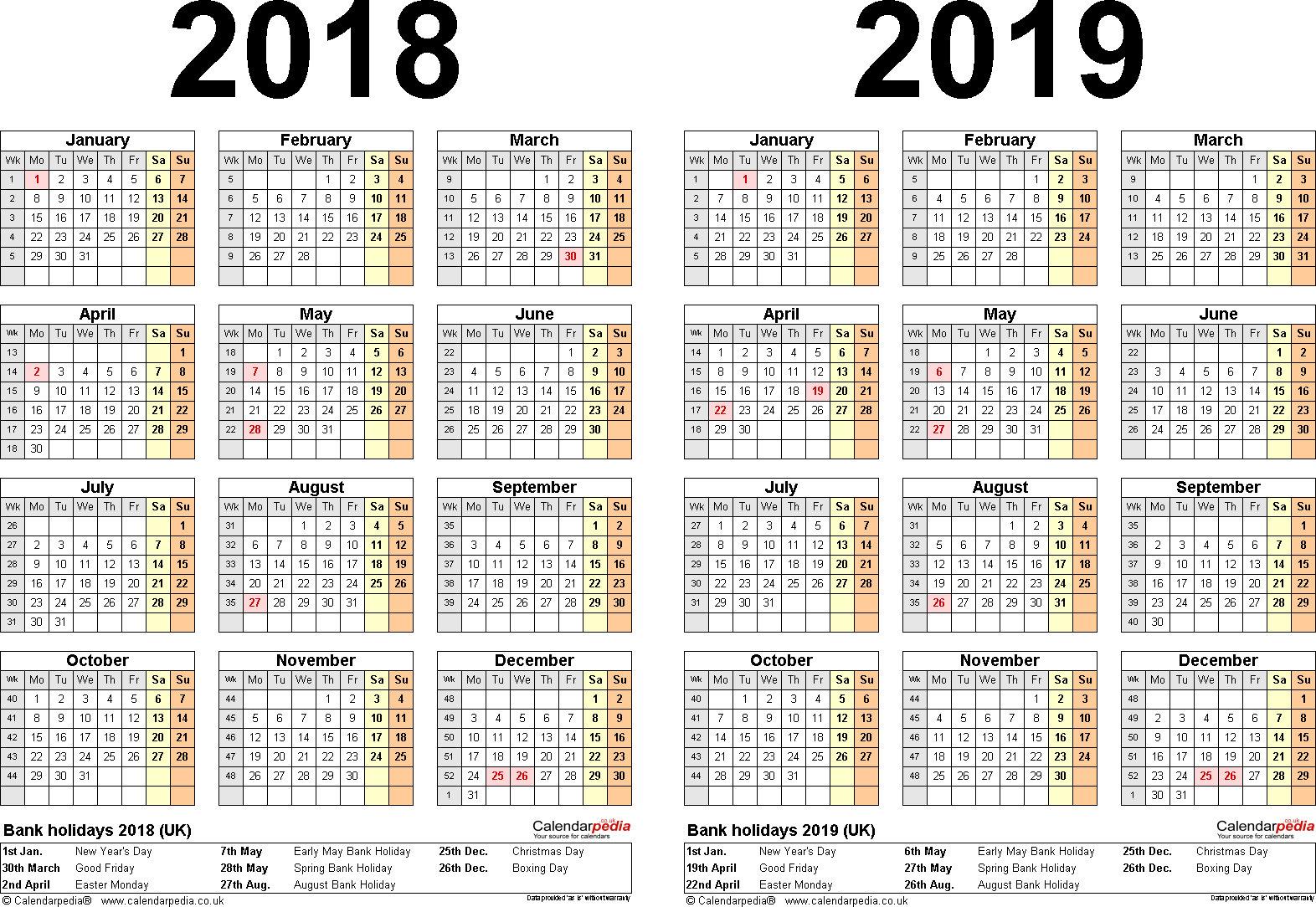 Template 2: Word template for two year calendar 2018/2019 (landscape orientation, 1 page, A4)