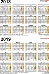 Template 4: Word template for two year calendar 2018/2019 (portrait orientation, 1 page, A4)