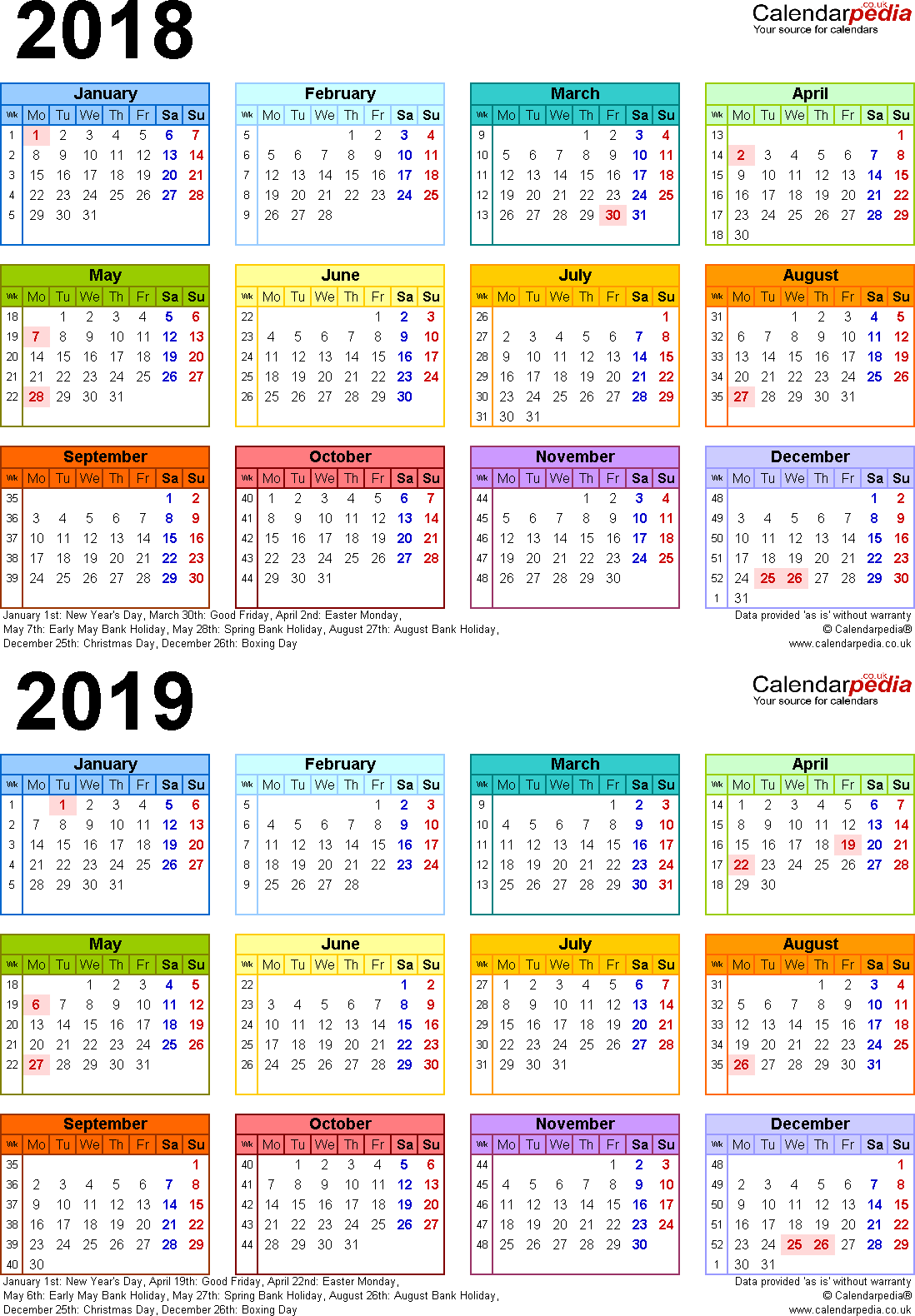 Template 4: PDF template for two year calendar 2018/2019 in colour (portrait orientation, 1 page, A4)
