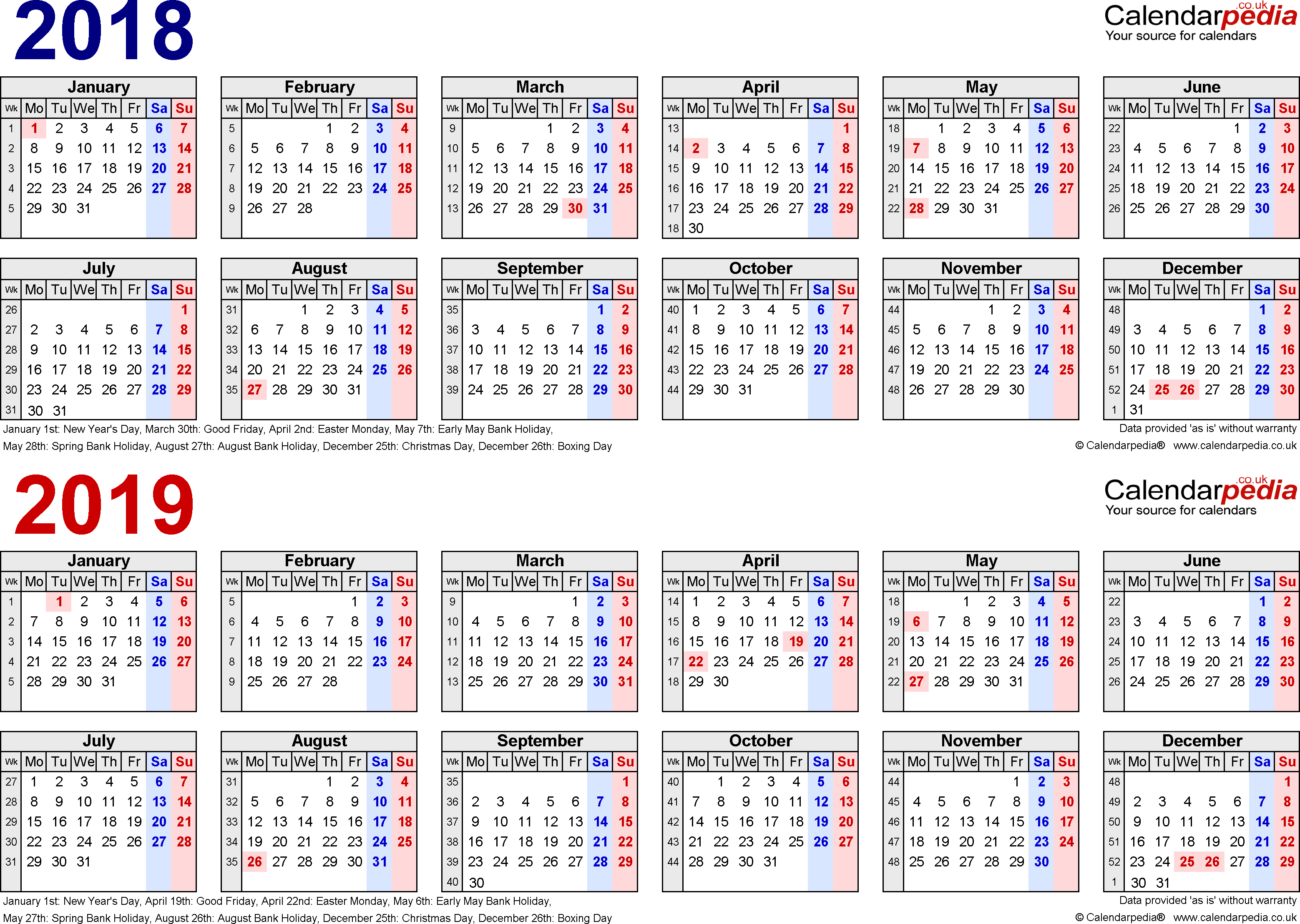 Template 1: PDF template for two year calendar 2018/2019 in blue/red (landscape orientation, 1 page, A4)
