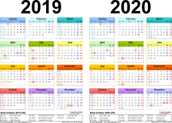 Template 2: PDF template for two year calendar 2019/2020 in colour (landscape orientation, 1 page, A4)