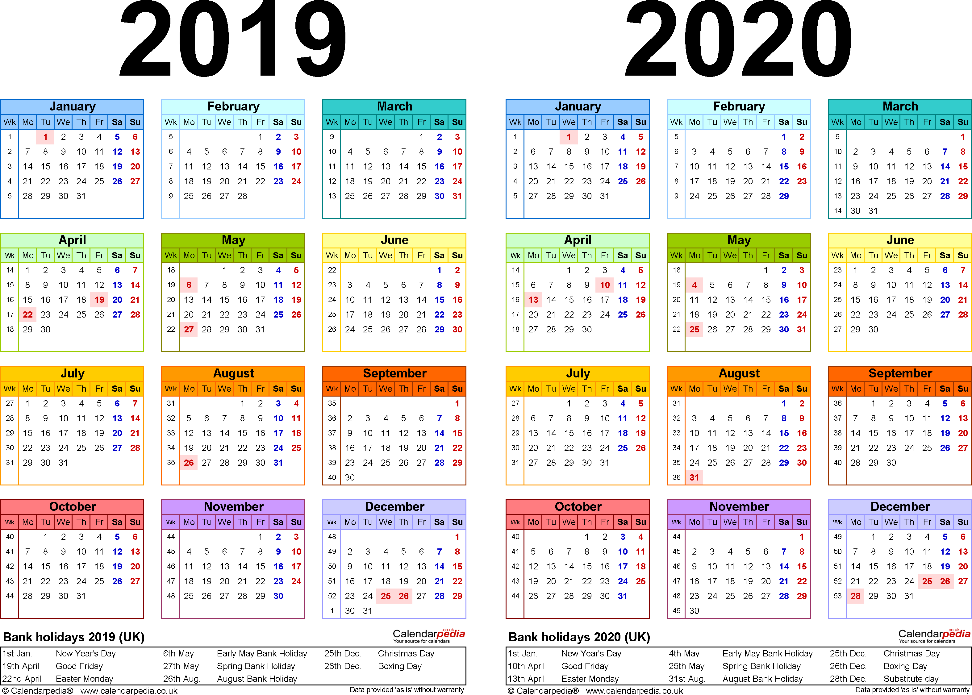 Template 1: Word template for two year calendar 2019/2020 in colour (landscape orientation, 1 page, A4)