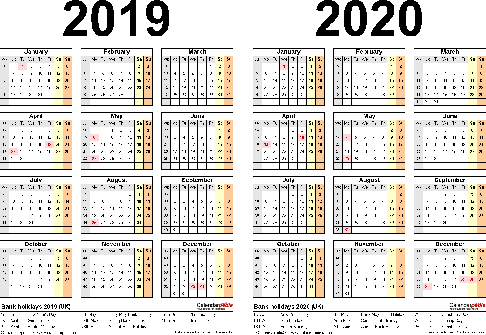 Template 2: Word template for two year calendar 2019/2020 (landscape orientation, 1 page, A4)