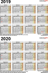 Template 4: Word template for two year calendar 2019/2020 (portrait orientation, 1 page, A4)