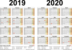 Template 2: PDF template for two year calendar 2019/2020 (landscape orientation, 1 page, A4)