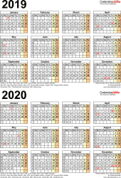Download Template 5: Word template for two year calendar 2019/2020 (portrait orientation, 1 page, A4)