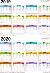 Template 3: Word template for two year calendar 2019/2020 in colour (portrait orientation, 1 page, A4)