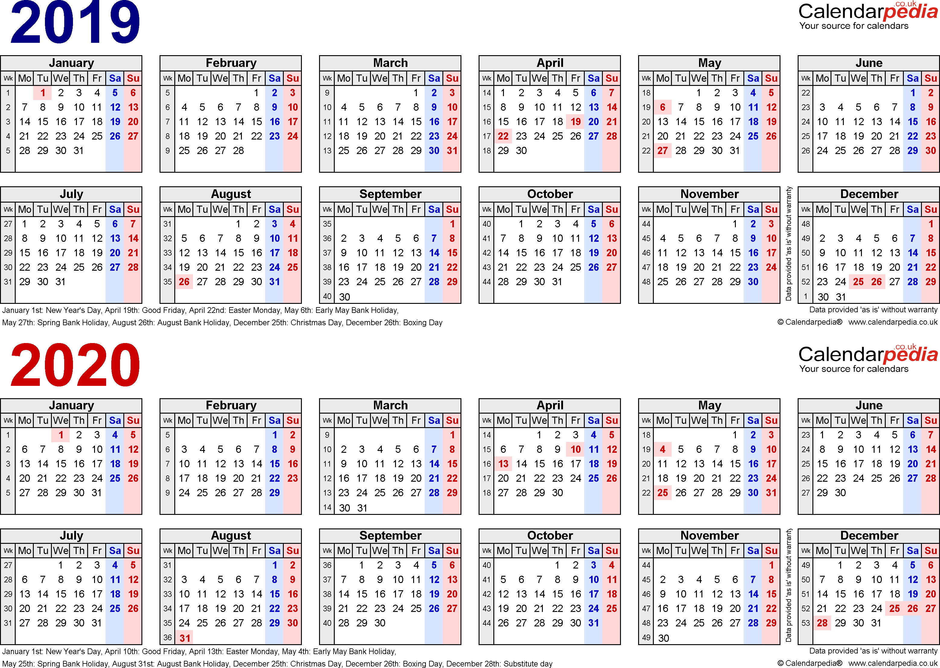 Template 1: PDF template for two year calendar 2019/2020 in blue/red (landscape orientation, 1 page, A4)
