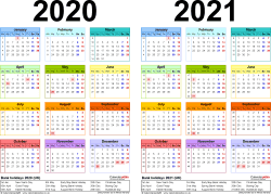 Template 2: Word template for two year calendar 2020/2021 in colour (landscape orientation, 1 page, A4)