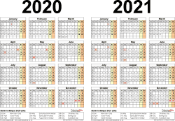 Template 3: Word template for two year calendar 2020/2021 (landscape orientation, 1 page, A4)