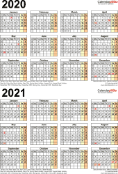 Template 5: Word template for two year calendar 2020/2021 (portrait orientation, 1 page, A4)