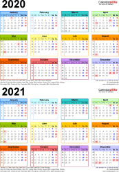 Download Template 4: Word template for two year calendar 2020/2021 in colour (portrait orientation, 1 page, A4)