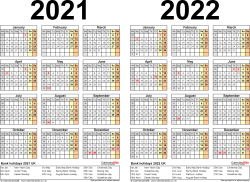 Template 2: Word template for two year calendar 2021/2022 (landscape orientation, 1 page, A4)