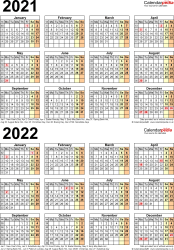 Template 4: Excel template for two year calendar 2021/2022 (portrait orientation, 1 page, A4)