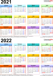 Template 4: Excel template for two year calendar 2021/2022 in colour (portrait orientation, 1 page, A4)