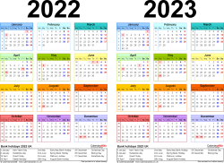 Template 2: Word template for two year calendar 2022/2023 in colour (landscape orientation, 1 page, A4)