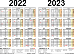 Template 2: PDF template for two year calendar 2022/2023 (landscape orientation, 1 page, A4)