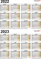 Template 5: Word template for two year calendar 2022/2023 (portrait orientation, 1 page, A4)
