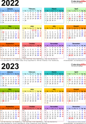 Template 4: Word template for two year calendar 2022/2023 in colour (portrait orientation, 1 page, A4)