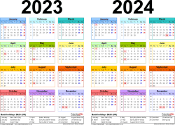 Download Template 2: PDF template for two year calendar 2023/2024 multi-coloured (landscape orientation, 1 page, A4)