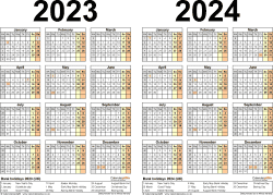Download Template 3: PDF template for two year calendar 2023/2024 (landscape orientation, 1 page, A4)