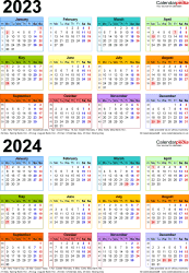 Download Template 4: PDF template for two year calendar 2023/2024 multi-coloured (portrait orientation, 1 page, A4)