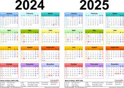 Download Template 2: Excel template for two year calendar 2024/2025 multi-coloured (landscape orientation, 1 page, A4)