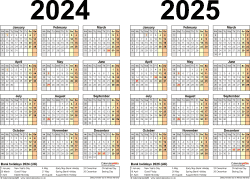 Download Template 3: Word template for two year calendar 2024/2025 (landscape orientation, 1 page, A4)