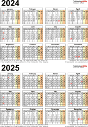 Download Template 5: Excel template for two year calendar 2024/2025 (portrait orientation, 1 page, A4)