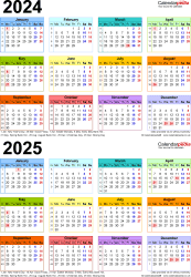 Download Template 4: Word template for two year calendar 2024/2025 multi-coloured (portrait orientation, 1 page, A4)