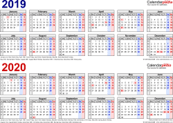 Template 1: Excel template for two year calendar 2019/2020 in blue/red (landscape orientation, 1 page, A4)