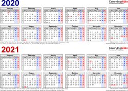 Download Template 1: Word template for two year calendar 2020/2021 in blue/red (landscape orientation, 1 page, A4)