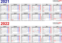 Template 1: Excel template for two year calendar 2021/2022 in blue/red (landscape orientation, 1 page, A4)