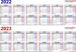 Template 1: PDF template for two year calendar 2022/2023 in blue/red (landscape orientation, 1 page, A4)