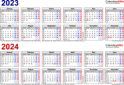 Download Template 1: PDF template for two year calendar 2023/2024 in blue/red (landscape orientation, 1 page, A4)