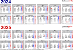 Download Template 1: Word template for two year calendar 2024/2025 in blue/red (landscape orientation, 1 page, A4)