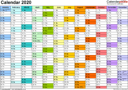 Template 1: Yearly calendar 2020 as Word template, landscape orientation, A4, 1 page, months horizontally, days vertically, in colour, with UK bank holidays and week numbers
