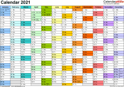 Template 1: Yearly calendar 2021 as Word template, landscape orientation, A4, 1 page, months horizontally, days vertically, in colour, with UK bank holidays and week numbers