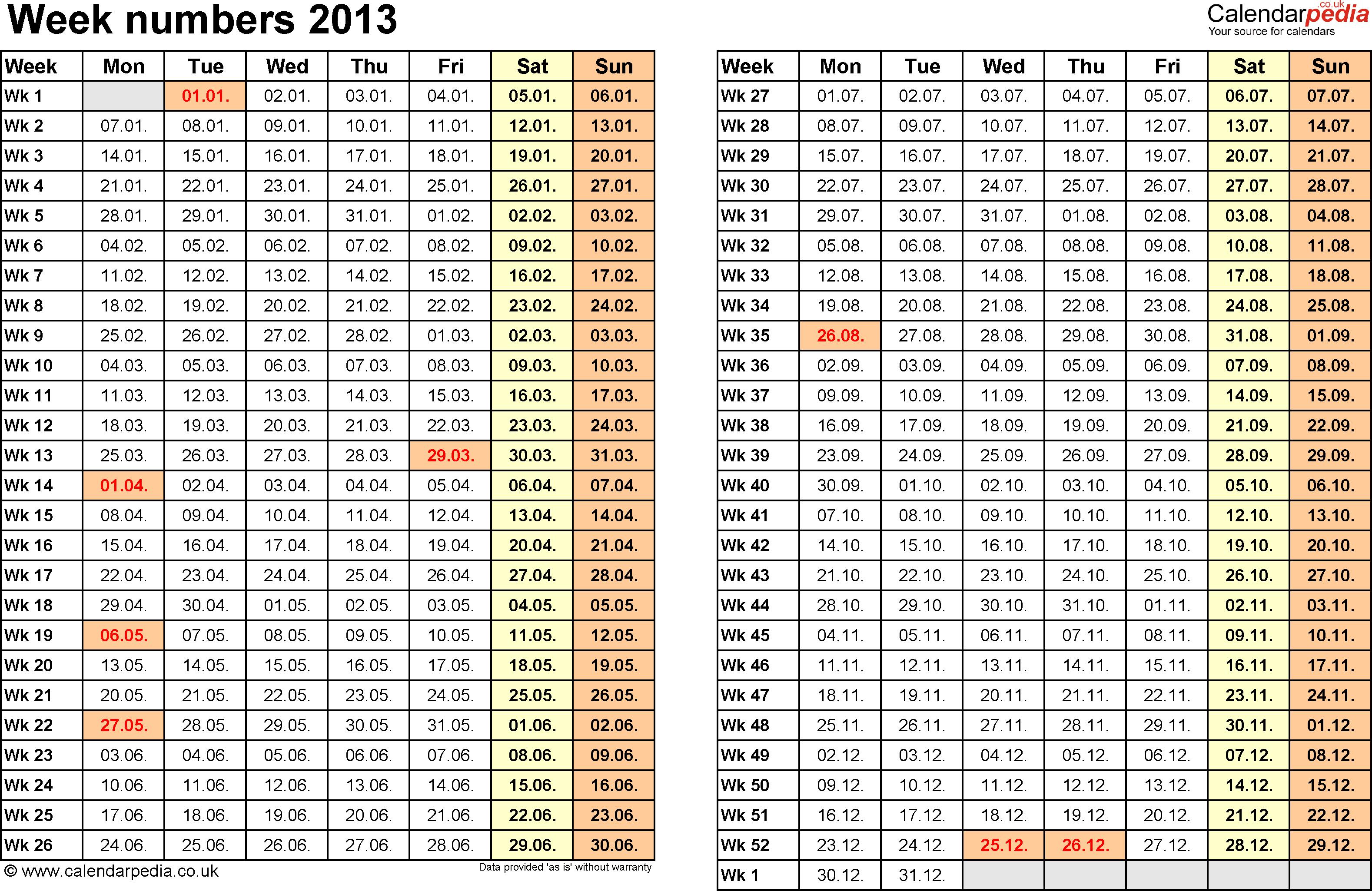 Template 1: Week Numbers 2013 as Excel, PDF & Word templates