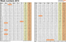 Template 1: Week Numbers 2013 as Word, Excel & PDF templates