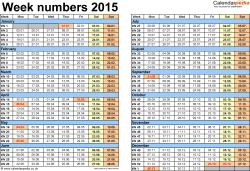Template 2: Week Numbers 2015 as Excel, PDF & Word templates